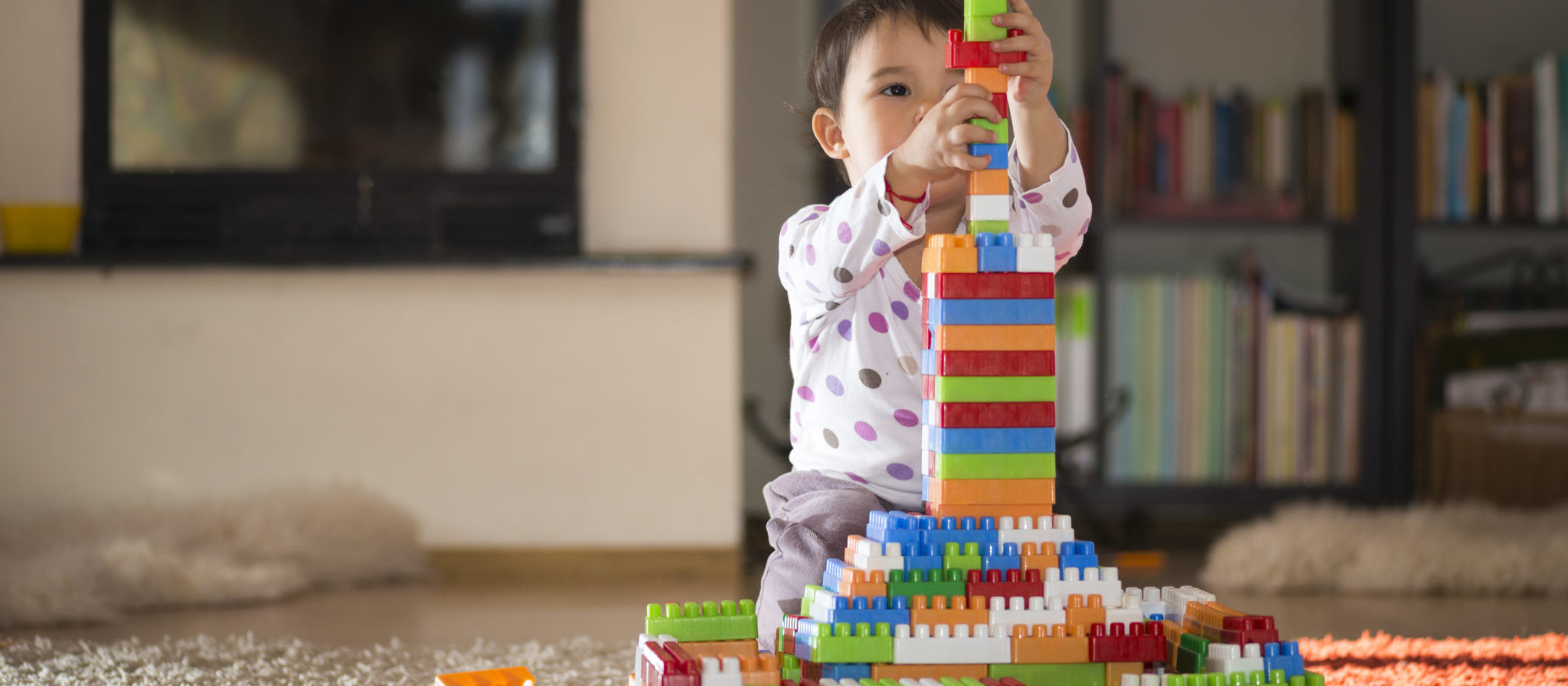Building blocks stimulate the imagination and are incredibly easy to clean up.